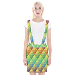 Background Colorful Geometric Triangle Braces Suspender Skirt by HermanTelo