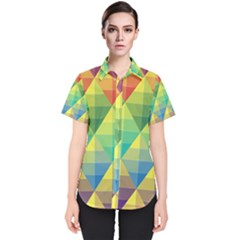 Background Colorful Geometric Triangle Women s Short Sleeve Shirt by HermanTelo