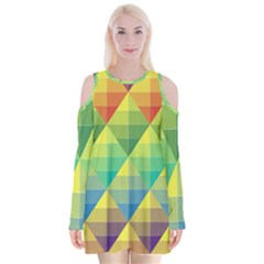 Background Colorful Geometric Triangle Velvet Long Sleeve Shoulder Cutout Dress