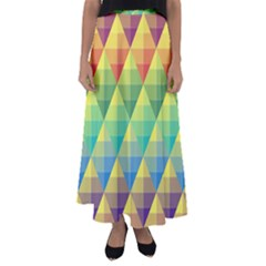 Background Colorful Geometric Triangle Flared Maxi Skirt by HermanTelo