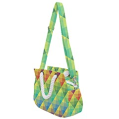Background Colorful Geometric Triangle Rope Handles Shoulder Strap Bag by HermanTelo