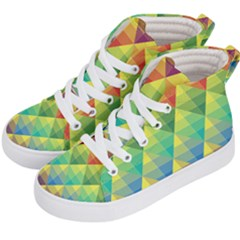 Background Colorful Geometric Triangle Kids  Hi Top Skate Sneakers by HermanTelo