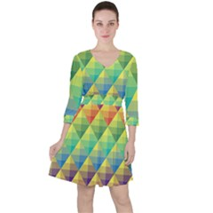 Background Colorful Geometric Triangle Ruffle Dress by HermanTelo