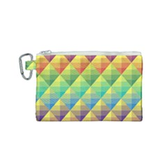 Background Colorful Geometric Triangle Canvas Cosmetic Bag (small) by HermanTelo