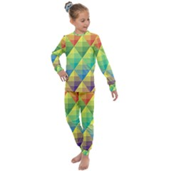 Background Colorful Geometric Triangle Kids  Long Sleeve Set  by HermanTelo