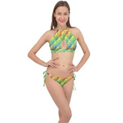 Background Colorful Geometric Triangle Cross Front Halter Bikini Set by HermanTelo