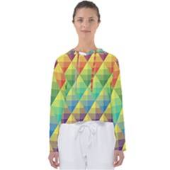 Background Colorful Geometric Triangle Women s Slouchy Sweat