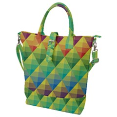 Background Colorful Geometric Triangle Buckle Top Tote Bag