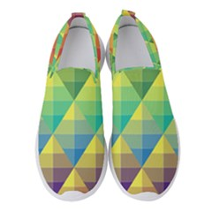 Background Colorful Geometric Triangle Women s Slip On Sneakers by HermanTelo