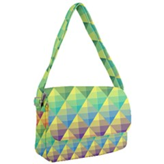 Background Colorful Geometric Triangle Courier Bag by HermanTelo