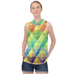 Background Colorful Geometric Triangle High Neck Satin Top by HermanTelo