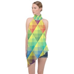 Background Colorful Geometric Triangle Halter Asymmetric Satin Top