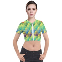 Background Colorful Geometric Triangle Short Sleeve Cropped Jacket by HermanTelo