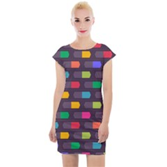 Background Colorful Geometric Cap Sleeve Bodycon Dress by HermanTelo