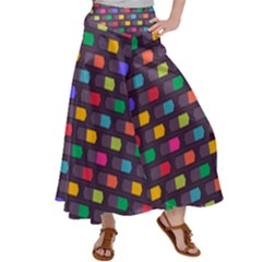 Background Colorful Geometric Satin Palazzo Pants by HermanTelo