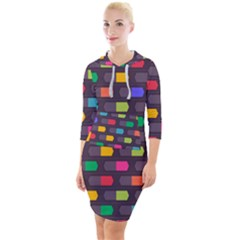 Background Colorful Geometric Quarter Sleeve Hood Bodycon Dress by HermanTelo