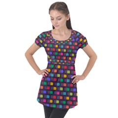 Background Colorful Geometric Puff Sleeve Tunic Top