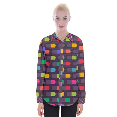 Background Colorful Geometric Womens Long Sleeve Shirt by HermanTelo