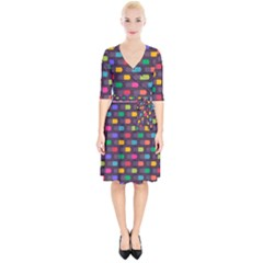 Background Colorful Geometric Wrap Up Cocktail Dress by HermanTelo