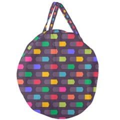 Background Colorful Geometric Giant Round Zipper Tote