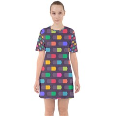 Background Colorful Geometric Sixties Short Sleeve Mini Dress by HermanTelo