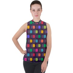Background Colorful Geometric Mock Neck Chiffon Sleeveless Top by HermanTelo