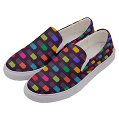 Background Colorful Geometric Men s Canvas Slip Ons by HermanTelo