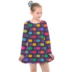 Background Colorful Geometric Kids  Long Sleeve Dress