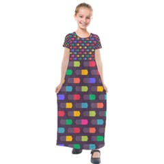 Background Colorful Geometric Kids  Short Sleeve Maxi Dress by HermanTelo