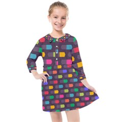 Background Colorful Geometric Kids  Quarter Sleeve Shirt Dress