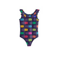 Background Colorful Geometric Kids  Frill Swimsuit