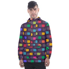 Background Colorful Geometric Men s Front Pocket Pullover Windbreaker by HermanTelo