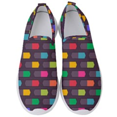Background Colorful Geometric Men s Slip On Sneakers by HermanTelo