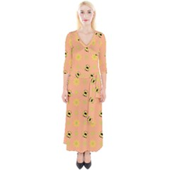 Bee Bug Nature Wallpaper Quarter Sleeve Wrap Maxi Dress by HermanTelo