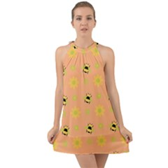 Bee Bug Nature Wallpaper Halter Tie Back Chiffon Dress by HermanTelo