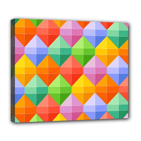Background Colorful Geometric Triangle Rainbow Deluxe Canvas 24  X 20  (stretched) by HermanTelo