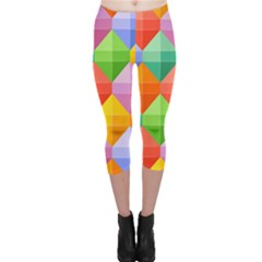 Background Colorful Geometric Triangle Rainbow Capri Leggings  by HermanTelo