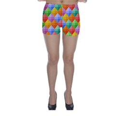Background Colorful Geometric Triangle Rainbow Skinny Shorts by HermanTelo