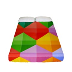 Background Colorful Geometric Triangle Rainbow Fitted Sheet (full/ Double Size) by HermanTelo