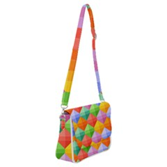Background Colorful Geometric Triangle Rainbow Shoulder Bag With Back Zipper by HermanTelo