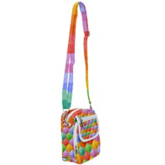 Background Colorful Geometric Triangle Rainbow Shoulder Strap Belt Bag by HermanTelo