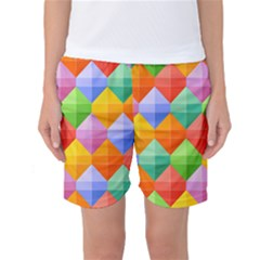 Background Colorful Geometric Triangle Rainbow Women s Basketball Shorts by HermanTelo
