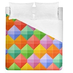 Background Colorful Geometric Triangle Rainbow Duvet Cover (queen Size) by HermanTelo