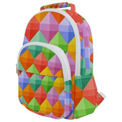 Background Colorful Geometric Triangle Rainbow Rounded Multi Pocket Backpack by HermanTelo