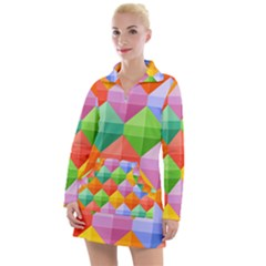 Background Colorful Geometric Triangle Rainbow Women s Hoodie Dress