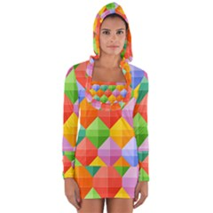 Background Colorful Geometric Triangle Rainbow Long Sleeve Hooded T Shirt by HermanTelo