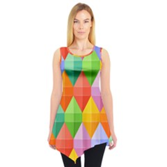 Background Colorful Geometric Triangle Rainbow Sleeveless Tunic by HermanTelo