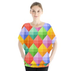 Background Colorful Geometric Triangle Rainbow Batwing Chiffon Blouse by HermanTelo