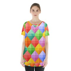 Background Colorful Geometric Triangle Rainbow Skirt Hem Sports Top