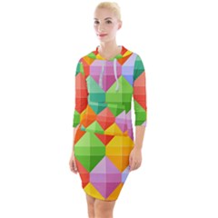Background Colorful Geometric Triangle Rainbow Quarter Sleeve Hood Bodycon Dress by HermanTelo